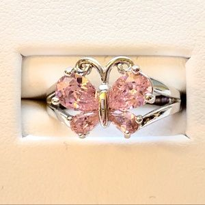 Jewelry - Vintage Pink Topaz/925 Silver Butterfly Motif Ring